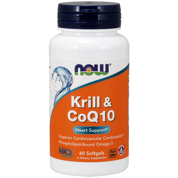 Krill & CoQ10, Phospholipid-Bound Omega-3, 60 Softgels, NOW Foods