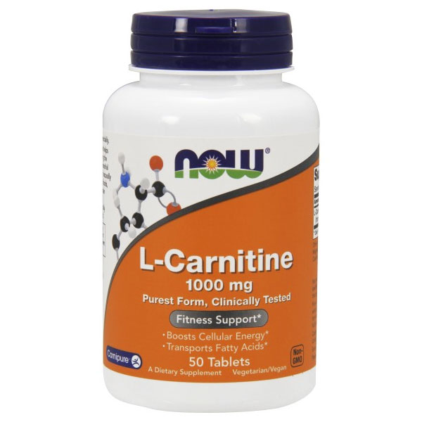 L-Carnitine 1000 mg 50 Tabs, NOW Foods