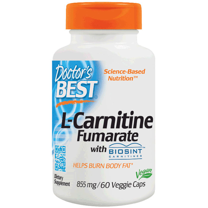L-Carnitine Fumarate 855 mg, featuring Sigma Tau Carnitine, 60 Vegetarian Capsules, Doctors Best