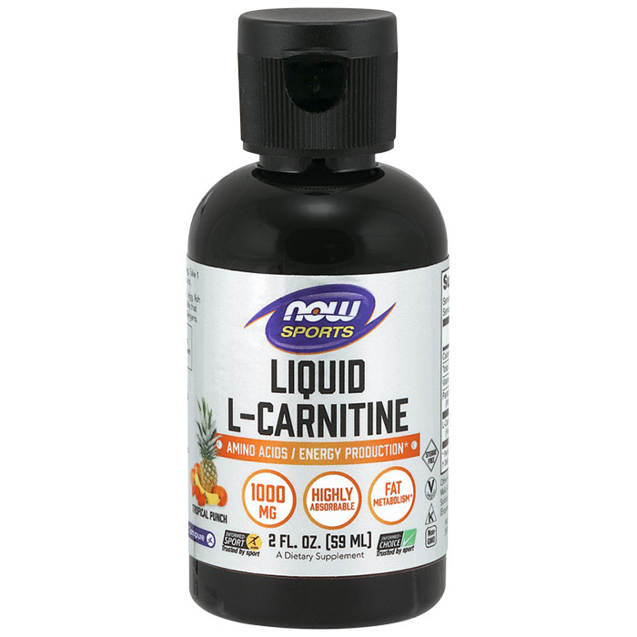 L-Carnitine Liquid 1000 mg - Tropical Punch, 2 oz, NOW Foods