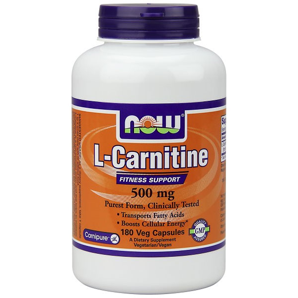 L-Carnitine 500mg Tartrate Form-L-Carnipure 180 Caps, NOW Foods