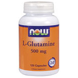 L-Glutamine 500mg Free Form 120 Caps, NOW Foods