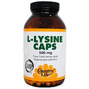 L-Lysine 500 mg w/B-6 250 Vegicaps, Country Life