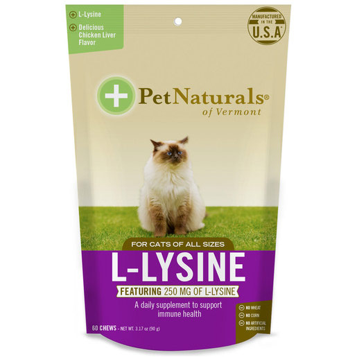 L-Lysine Chews for Cats, 60 Chews, Pet Naturals of Vermont