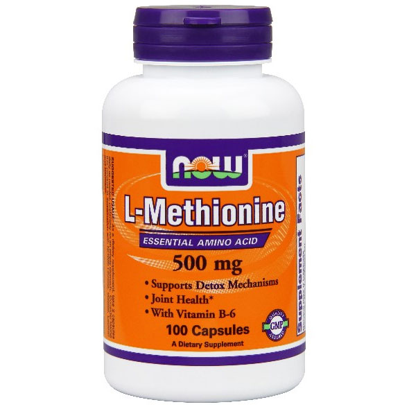 L-Methionine 500mg with B-6 10mg 100 Caps, NOW Foods