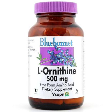 L-Ornithine 500 mg, 50 Vcaps, Bluebonnet Nutrition