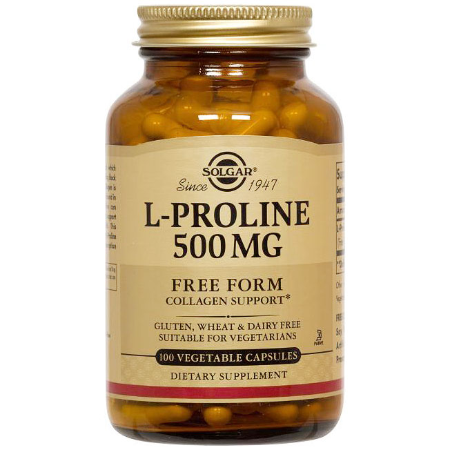 L-Proline 500 mg, 100 Vegetable Capsules, Solgar