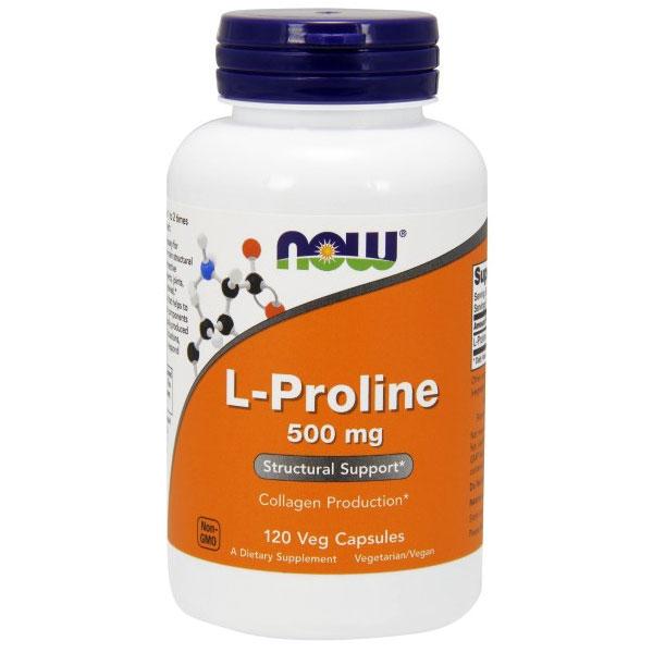 L-Proline 500 mg, 120 Vcaps, NOW Foods