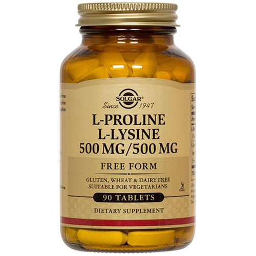 L-Proline/L-Lysine 500/500 mg, 90 Tablets, Solgar