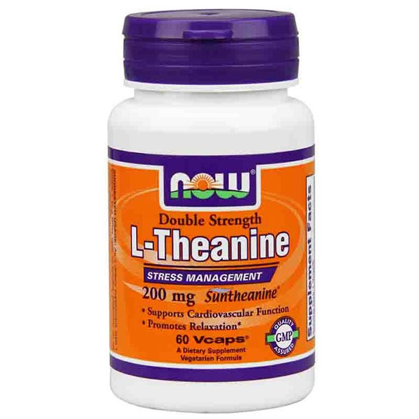 L-Theanine 200 mg Double Strength, 120 Veg Capsules, NOW Foods