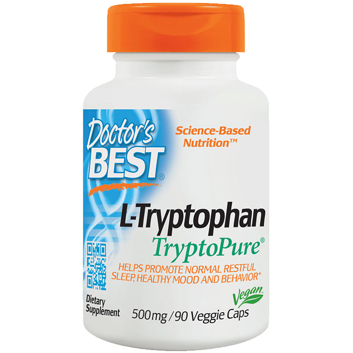 L-Tryptophan 500 mg, featuring TryptoPure, 90 Vegetarian Capsules, Doctors Best