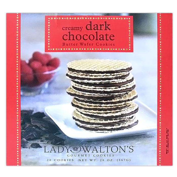 Lady Waltons Creamy Dark Chocolate Butter Wafer Cookies, 20 oz (567 g)