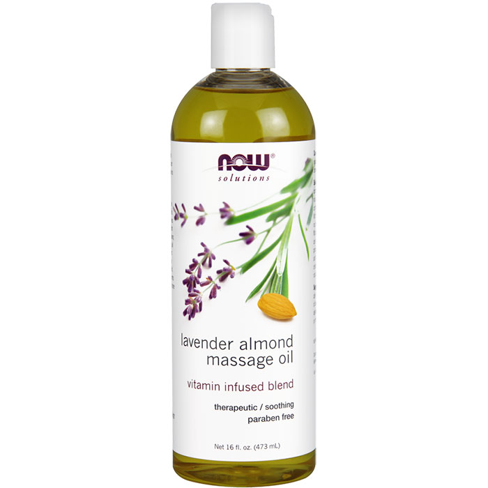 Lavender Almond Massage Oil, 16 oz, NOW Foods