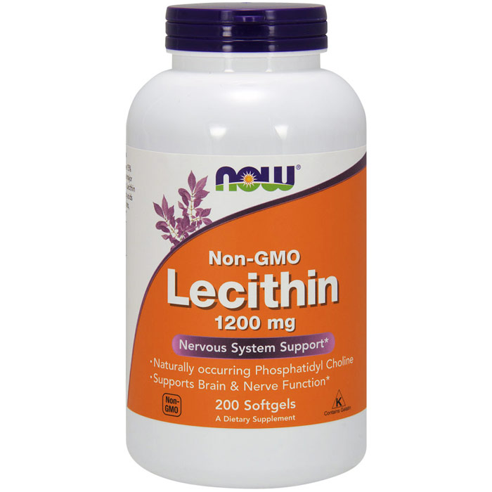 Lecithin 1200 mg, Non-GMO, 200 Softgels, NOW Foods