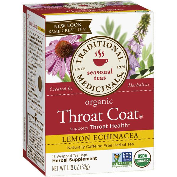Lemon Echinacea Throat Coat Tea 16 bags, Traditional Medicinals Teas