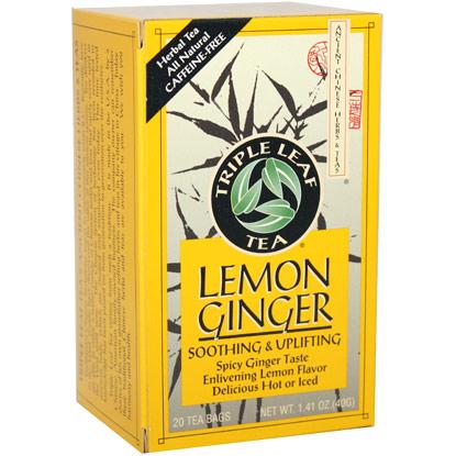 Lemon Ginger Tea, 20 Tea Bags x 6 Box, Triple Leaf Tea