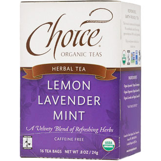 Lemon Lavender Mint Herbal Tea, Caffeine Free, 16 Tea Bags, Choice Organic Teas