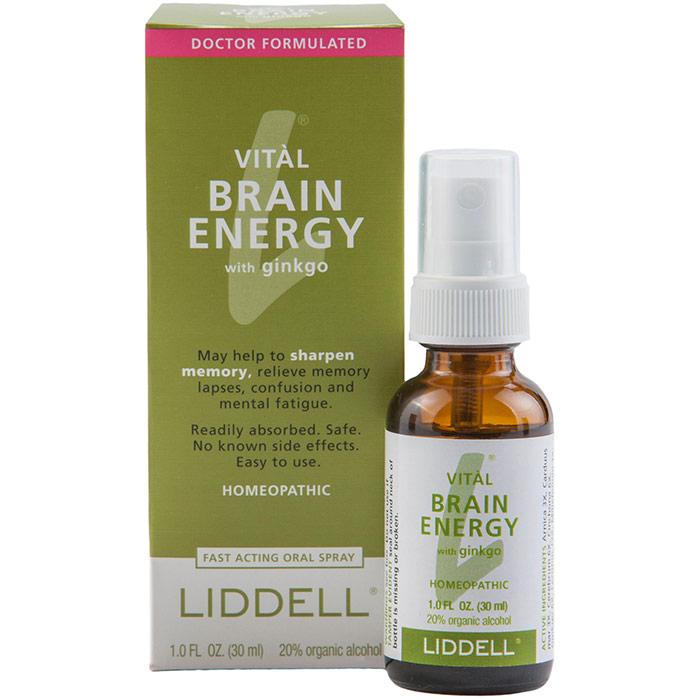 Liddell Vital Brain Energy Spray, Homeopathic Memory Aid