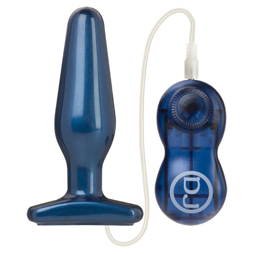 Pretty Ends Vibrating Anal Plug Medium - Blue, Doc Johnson