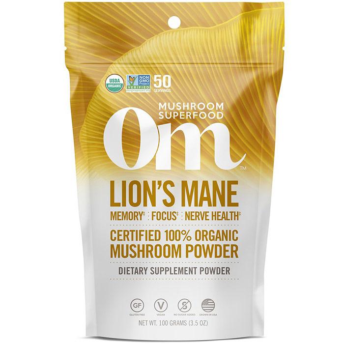 Lions Mane Mushroom Superfood Powder, 100 g, Om Organic Mushroom Nutrition