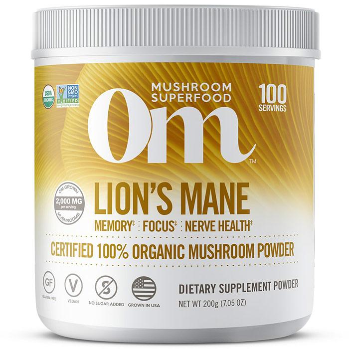 Lions Mane Mushroom Superfood Powder, 200 g, Om Organic Mushroom Nutrition