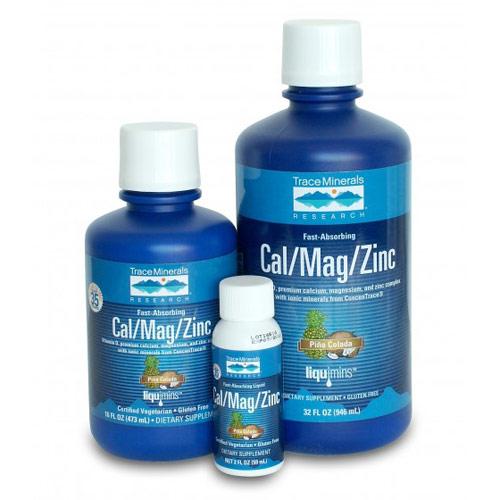 Cal/Mag/Zinc Liquid, Pina Colada Flavor, 32 oz, Trace Minerals Research