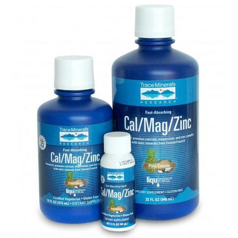Liquid Cal/Mag/Zinc, Strawberry (Calcium / Magnesium / Zinc), 32 oz, Trace Minerals Research