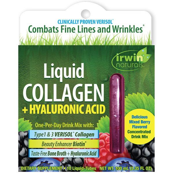 Liquid Collagen + Hyaluronic Acid Drink Mix, 10 Liquid-Tubes, Irwin Naturals