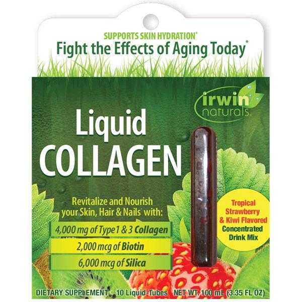 Liquid Collagen Skin Revitalization Drink Mix, 10 Liquid-Tubes, Irwin Naturals