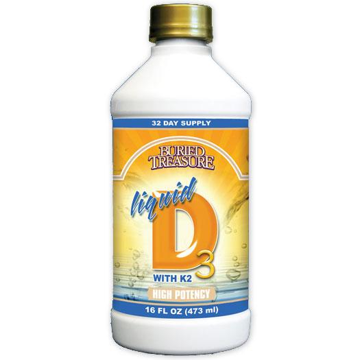 Liquid D3 Vitamin D, 16 oz, Buried Treasure Liquid Nutrients