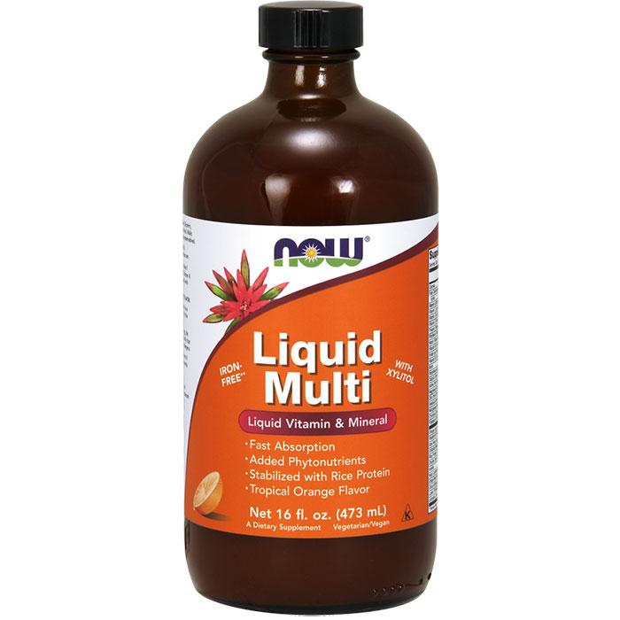 Liquid Multi Tropical Orange Flavor Multi Vitamins 16 oz, NOW Foods