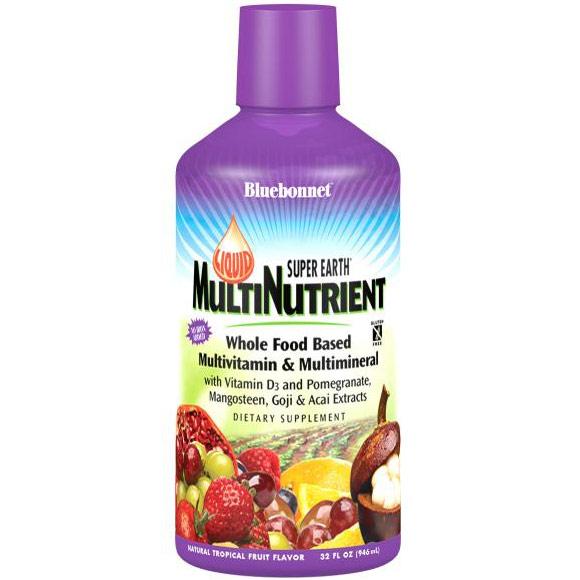 Liquid Super Earth MultiNutrient Formula, Natural Tropical Fruit Flavor, 32 oz, Bluebonnet Nutrition