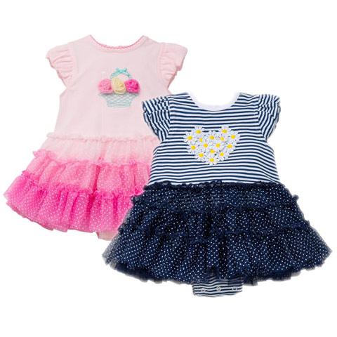 Image of Little Me Girls' Tutu Popover 2-Pack, Pink/Navy
