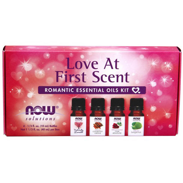 Essential Oils Kit For Romance - Love At First Scent, 4 Bottles, NOW Foods