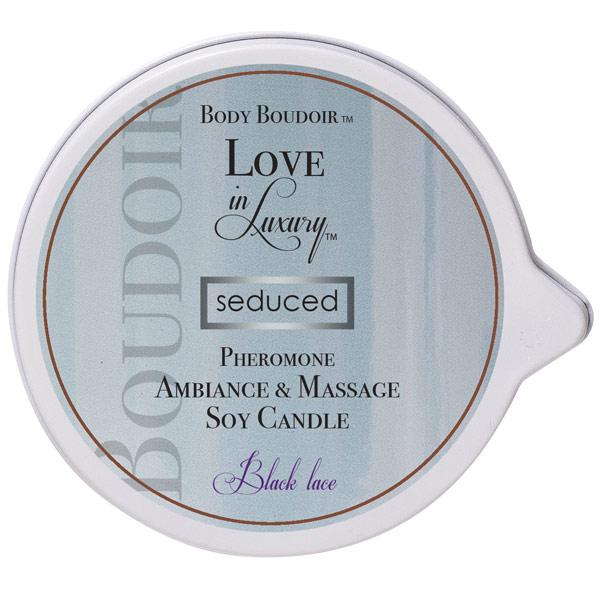 Image of Body Boudoir Love In Luxury Seduced Pheromone Ambiance & Soy Massage Candle, Black Lace, 6 oz, Classic Erotica