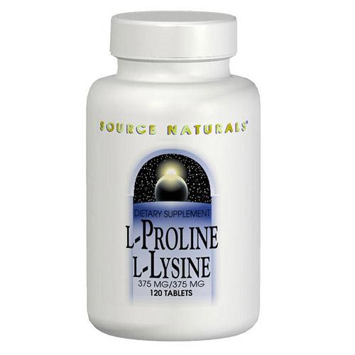 L-Proline/L-Lysine 275mg/275mg 120 tabs from Source Naturals