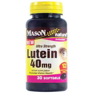 Lutein 40 mg Ultra Strength, 30 Softgels, Mason Natural