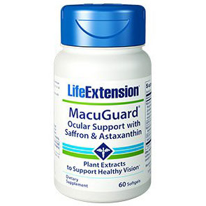 MacuGuard Ocular Support with Saffron & Astaxanthin, 60 Softgels, Life Extension