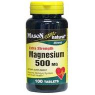Magnesium 500 mg Extra Strength, 100 Tablets, Mason Natural