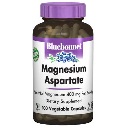 Magnesium Aspartate, 100 Vegetable Capsules, Bluebonnet Nutrition