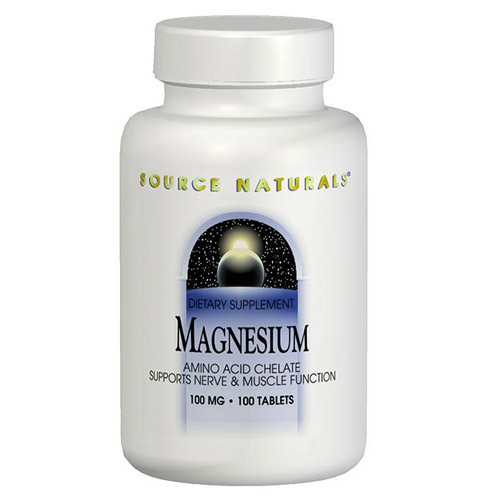 Magnesium Chelate 100mg elemental 100 tabs from Source Naturals