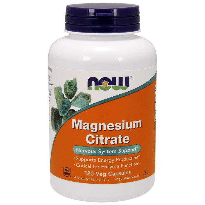 Magnesium Citrate Vegetarian Caps, 120 Vcaps, NOW Foods