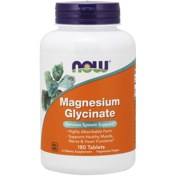 Magnesium Glycinate, 180 Tablets, NOW Foods