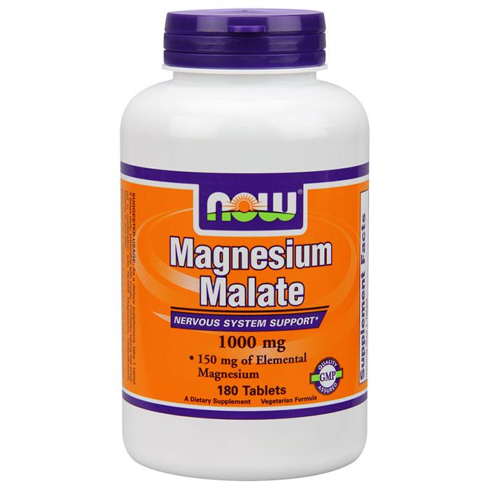 Magnesium Malate 1000mg Vegetarian 180 Tabs, NOW Foods