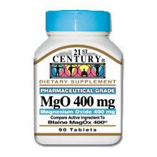 MgO Magnesium Oxide 400 mg, 90 Tablets, 21st Century - CLICK HERE TO LEARN MORE
