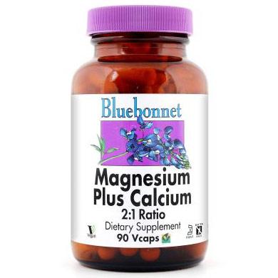 Magnesium Plus Calcium 2:1 Ratio, 180 Vcaps, Bluebonnet Nutrition