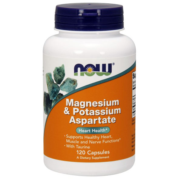 Magnesium & Potassium Aspartate with Taurine 120 Caps, NOW Foods