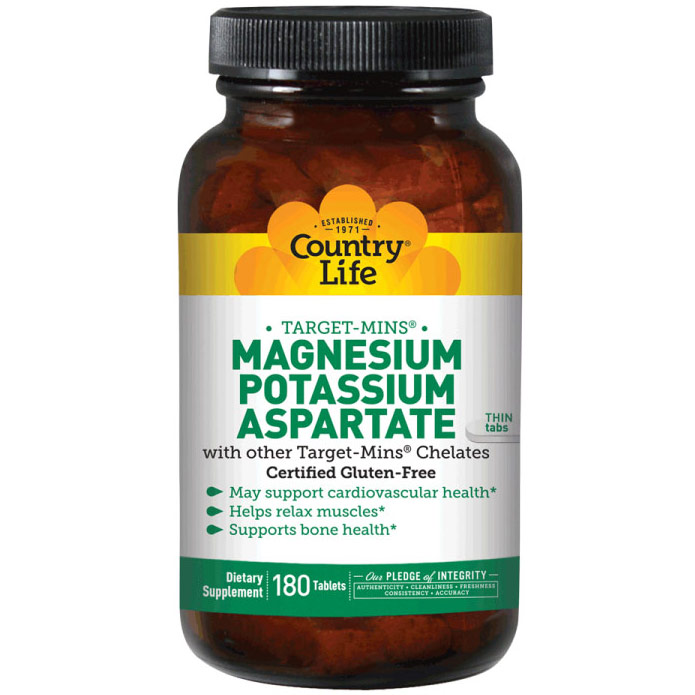 Magnesium-Potassium Aspartate Target Mins 180 Tablets, Country Life