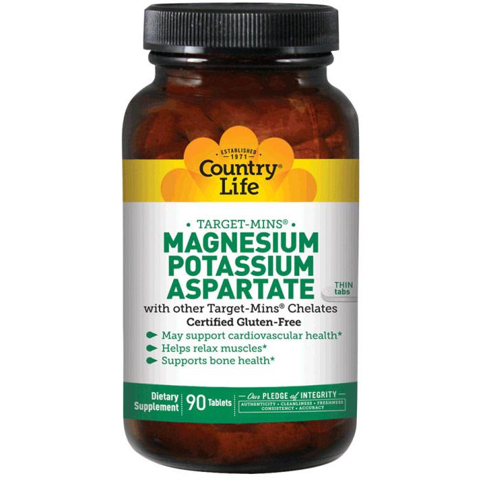 Magnesium-Potassium Aspartate Target Mins 90 Tablets, Country Life