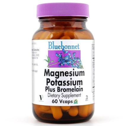 Magnesium Potassium Plus Bromelain, 120 Vcaps, Bluebonnet Nutrition